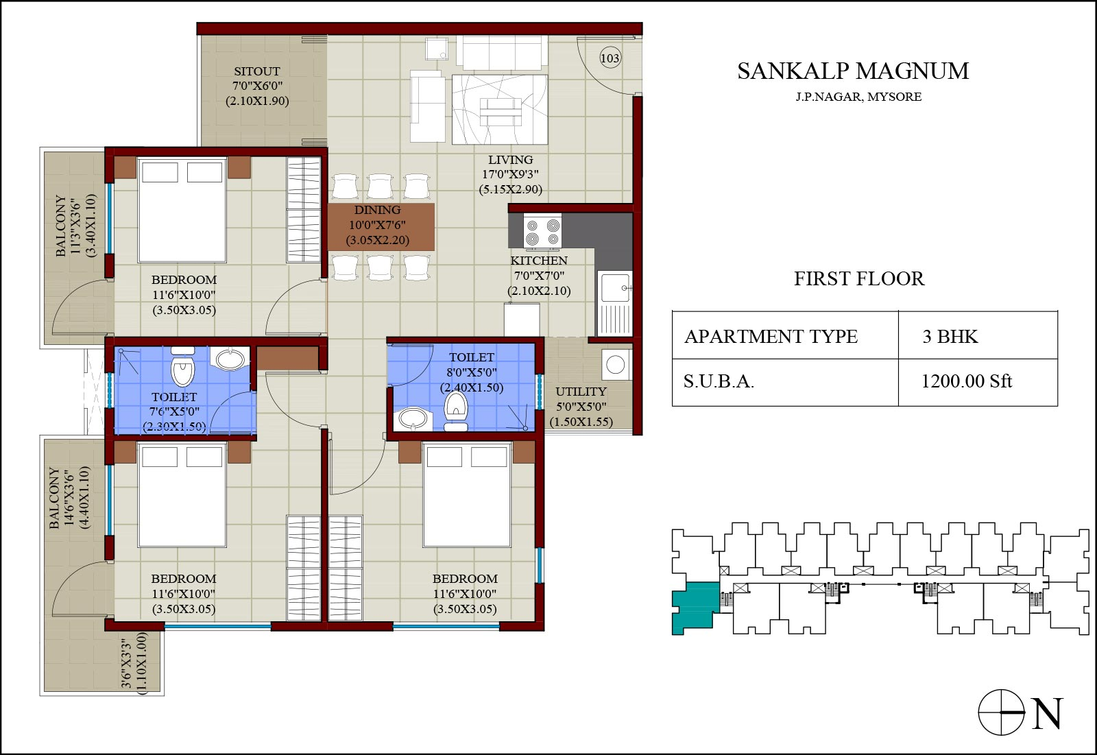 2 3 bhk residential apartments jp nagar mysore one for Floor description